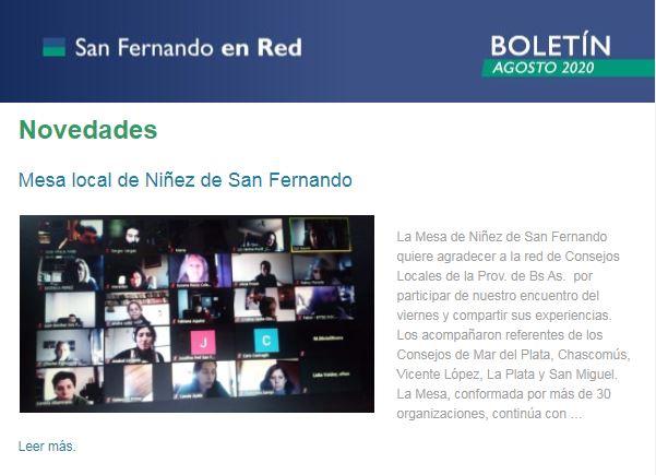 Boletín Agosto de San Fernando en Red